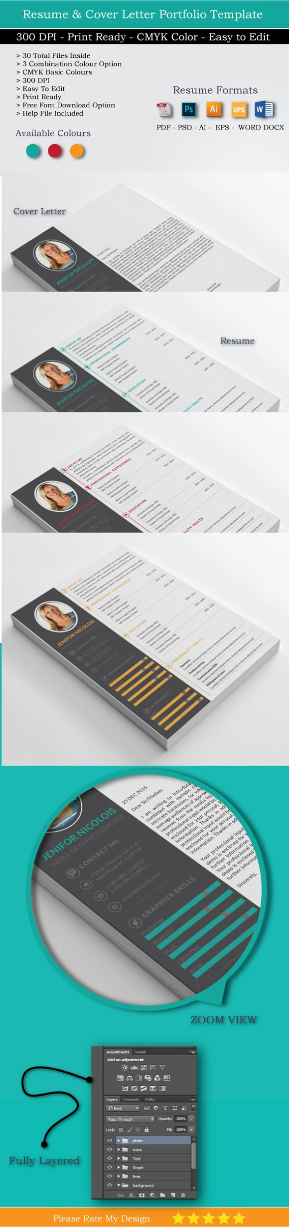 Cv resume and cover letter resume templates creative market yelopaper Images