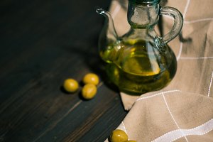 olive oil on the wooden table