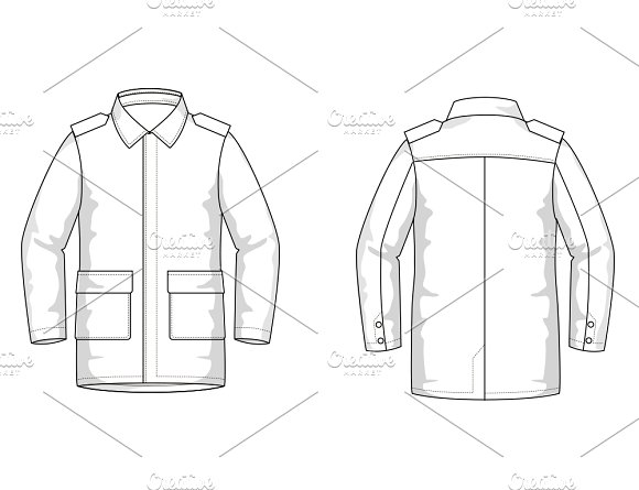 Mens Coat Fashion Flat Template