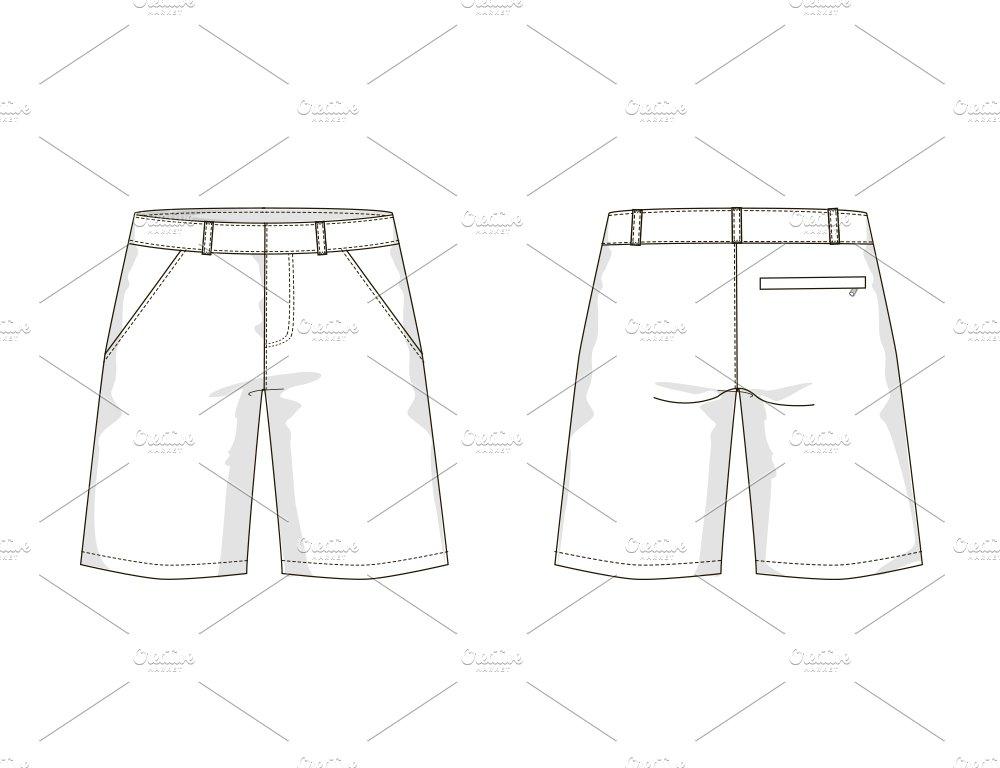 Men's Shorts Fashion Flat Template ~ Templates ~ Creative