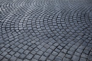 Grey cobblestone pavement