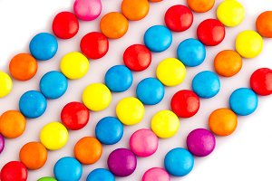 colorful candy chocolates top angle