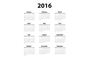 Calendar 2016 black & white