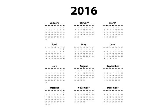 Calendar 2016 Black White Stationery Templates Creative Market