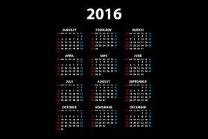 Calendar 2016 color background