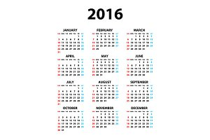 Calendar 2016 color background