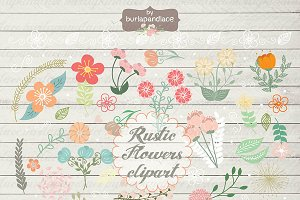 Rustic color flowers clipart