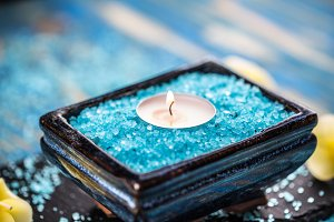 Sea salt and candle