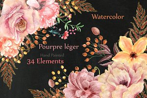 Watercolor flowers and wreaths