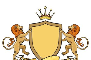 Heraldic lions with shield