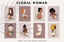 FLORAL WOMAN modern women prints by  in Graphics