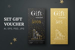 Gift card gold, black. Certificate