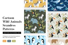 Cartoon Animals Seamless Patterns by  in Graphics