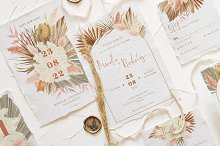 Bohemian Dried Foliage Wedding Suite by  in Templates