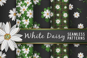 White Daisy Flower Seamless Patterns