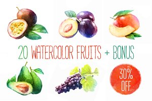 20 watercolor fruits Vector + bonus