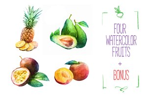 4 Watercolor fruits Vector + Bonus