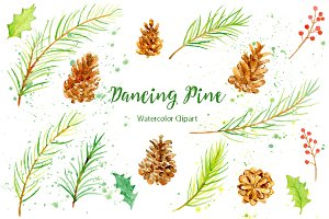 Watercolor Clipart Dancing Pine