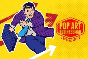 Businessman runs forward