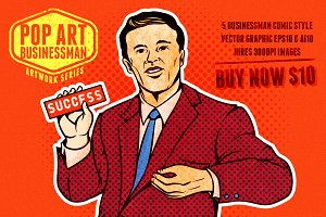 pop art businessman set