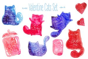 Valentine Cats Watercolor