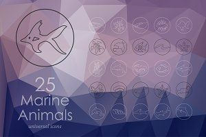 25 marine animals line icons