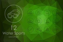12 water sports line icons