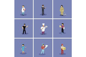 Set of Characters Popular Profession
