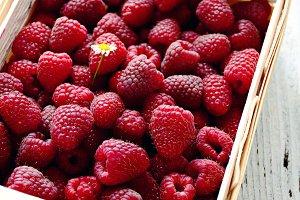 Raspberries in basket