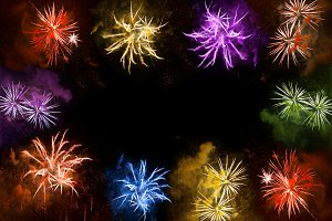 Holidays banner. Colorful fireworks