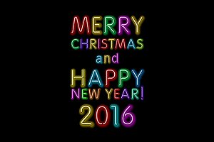 Neon Color Merry Christmas New Year
