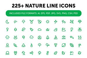 225+ Nature Line Icons Set