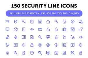150 Security Line Icons