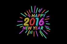 Neon Color Happy New Year 2016