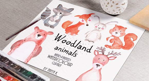Woodland animals Watercolor Clipart in Illustrations - product preview 1
