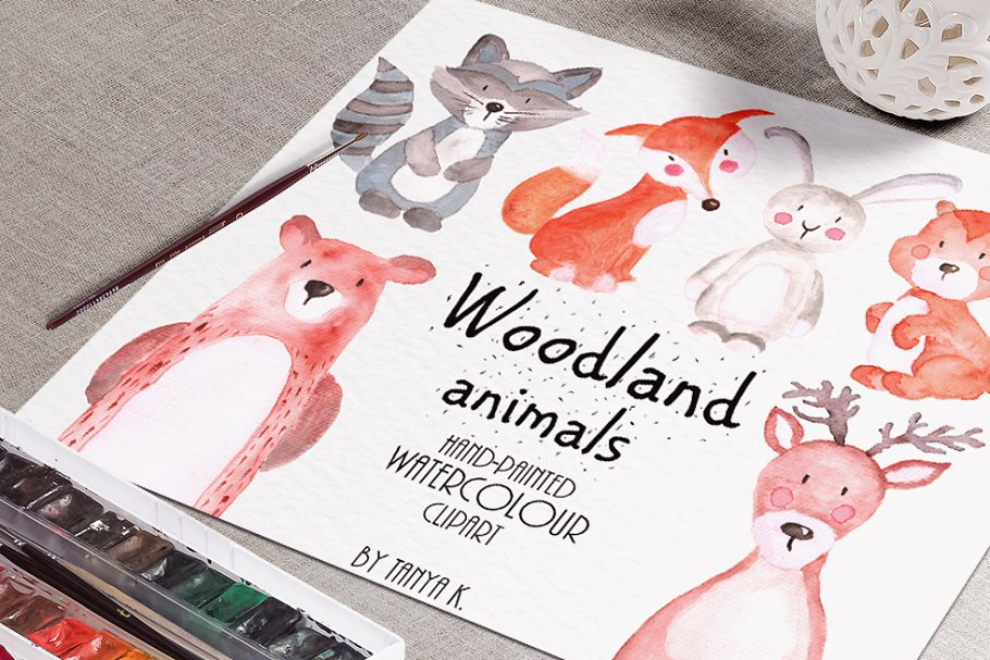 Woodland animals Watercolor Clipart in Illustrations - product preview 8