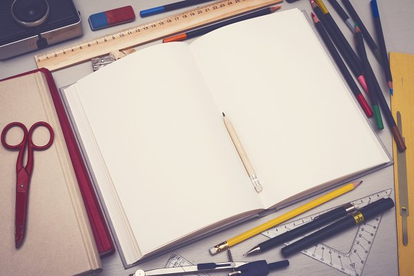 Retro style sketchbook mockup