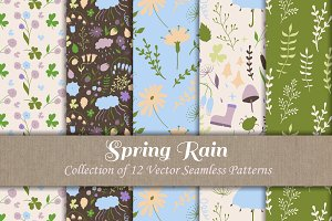 Vector Floral Seamless Patterns Set