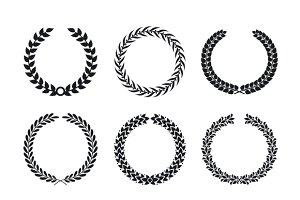 Black silhouette of circular wreaths