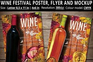 Wine Festival Poster, Flyer, Mockup