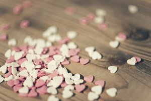 texture of hearts on the table