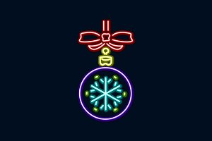 new year neon light ball snowflake