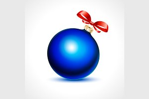 blue fur-tree toy ball with red bow