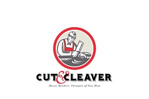 Cut and Cleaver Master Butcher Logo
