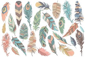 Tribal Feathers Vector PNG & JPG Set