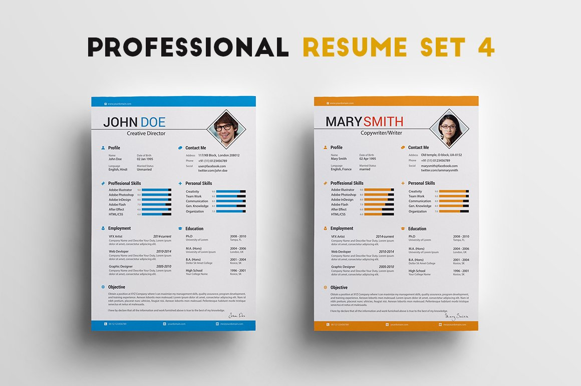 professional resume set 4 resume templates creative market