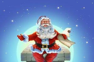 Santa Claus sitting on pipe