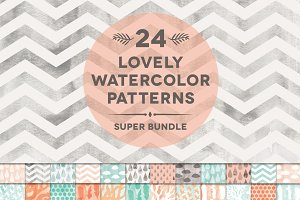 24 Watercolor Digital Pattern Bundle