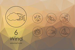 6 wind line icons