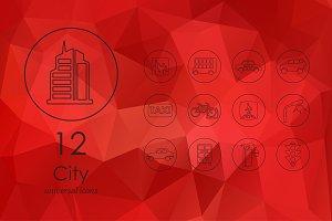 12 city line icons